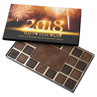 Gold 2018 Happy New Year Fireworks Chocolate box