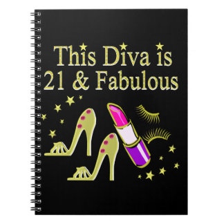 GOLD 21 AND FABULOUS BIRTHDAY DESIGN NOTEBOOK