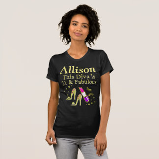 GOLD 21 AND FABULOUS PERSONALIZED T SHIRT
