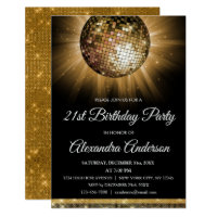 21st birthday invitations announcements zazzle gold 21st birthday party gold disco ball filmwisefo Image collections