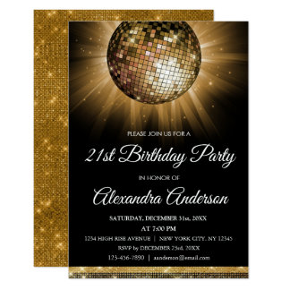 Gold 21st Birthday Party Gold Disco Ball Card