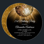 "Gold 21st Birthday Party Gold Disco Ball Invitation<br><div class=""desc"">Gold Twenty First Birthday Party Gold Disco Ball Party Invitation. The Gold and Black 21st Birthday Party Invitation is perfect for a modern 21st Birthday Party.</div>"