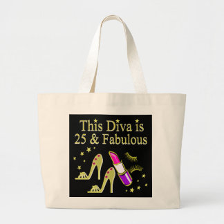 GOLD 25 AND FABULOUS DIVA DESIGN LARGE TOTE BAG