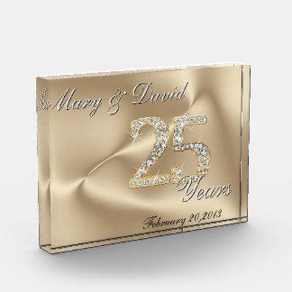 Gold 25 Year Anniversary Acrylic Award