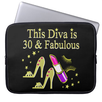 GOLD 30 AND FABULOUS 30TH BIRTHDAY DESIGN LAPTOP SLEEVE