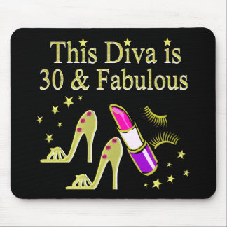 GOLD 30 AND FABULOUS 30TH BIRTHDAY DESIGN MOUSE PAD