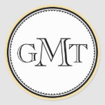 Gold 3 initial letter monogram royal elegance seal round sticker