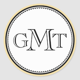 Gold 3 initial letter monogram royal elegance seal classic round sticker