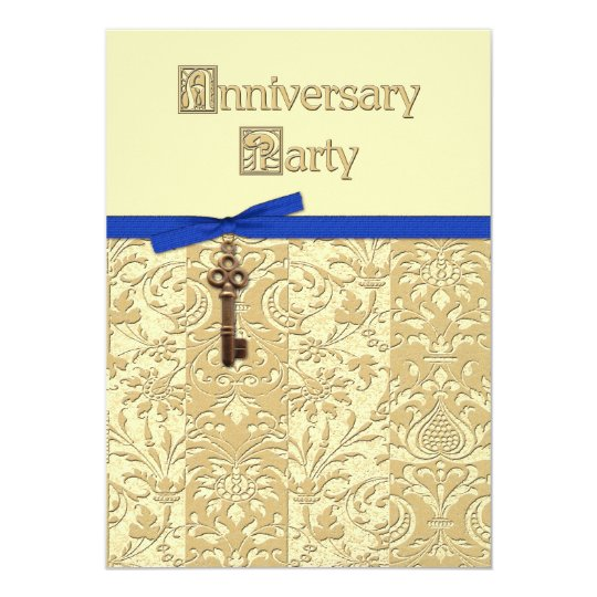 Gold 3D Damask with Key Charm and Bow Anniversary Card