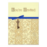 """Gold 3D Damask with Key Charm and Bow Invite 5"""" X 7"""" Invitation Card"""