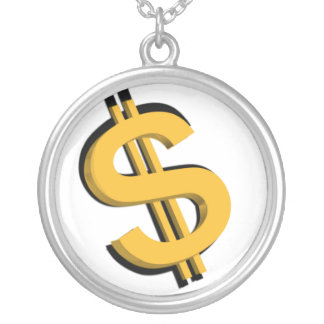 Gold 3D Dollar Sign Necklace