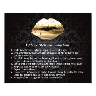 Gold 3D Lips Beauty Salon Makeup Instruction Tips Flyer