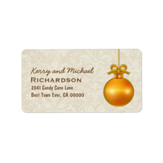 Gold 3D Look Christmas Ornament with Bow C05 Label