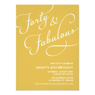 Gold 40 and Fabulous Invitations