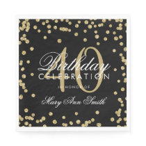 Gold 40th Birthday Glitter Confetti Black Napkin