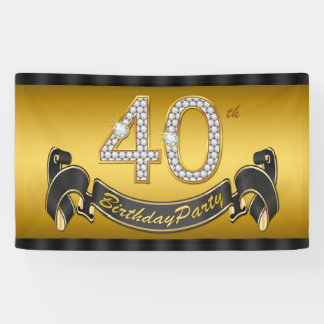 Gold 40th Birthday Party Banner