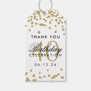 Gold 40th Birthday Thank You Confetti White Gift Tags