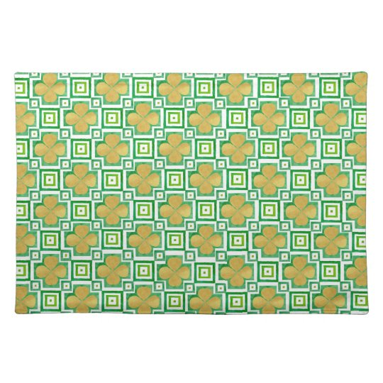 Gold 4 Leaf Clover Green Watercolor Block Pattern Placemat