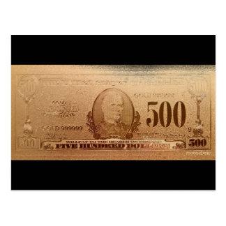 Gold 500 Dollar Bill Front Postcard
