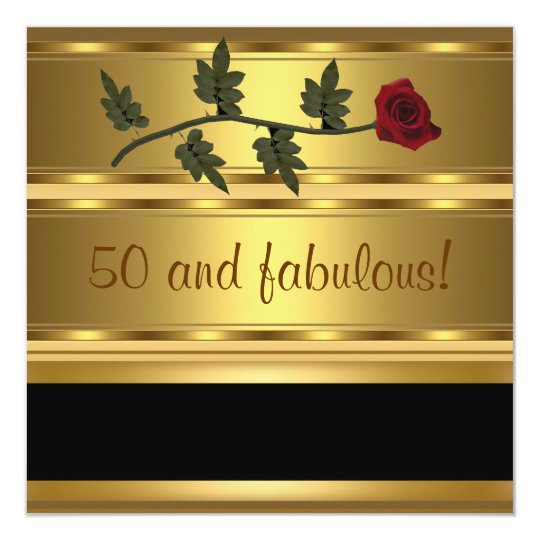Gold 50 and Fabulous Birthday Party Card