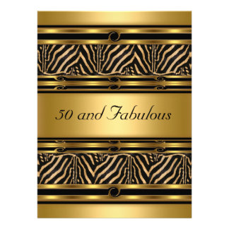 Gold  50 and Fabulous Birthday Party Invitation Custom Announcement