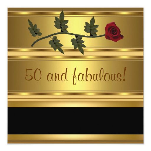 Gold 50 and Fabulous Birthday Party 5.25x5.25 Square Paper Invitation Card