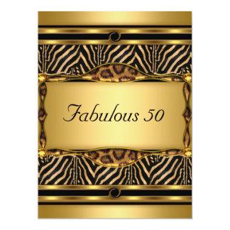 "Gold  50 and Fabulous Birthday Party Invitation 6.5"" X 8.75"" Invitation Card"