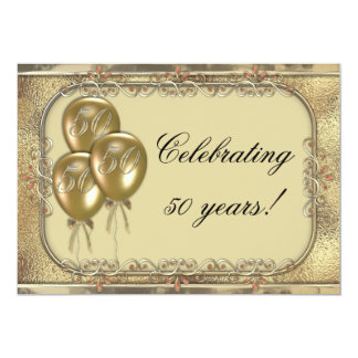 Gold 50th Anniversary Balloon Party Invitation