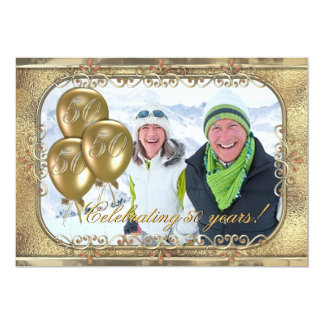 Gold 50th Anniversary Balloon Photo Invitation