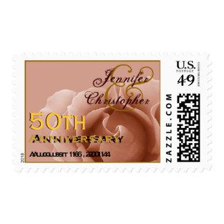 GOLD 50th Anniversary Custom Stamp PEACH Rose