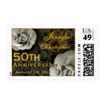 GOLD 50th Anniversary Custom Stamp WHITE Roses