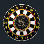 """Gold 50th Anniversary gold plated foil Dart Board<br><div class=""""desc"""">Gold 50th Anniversary gold plated foil design is a noble decorative day to remember. Let this entertaining Gold 50th Anniversary design do the talking for you. &quot;Customize&quot; to change your own background color or add text .Decorate this personalized design your way.</div>"""