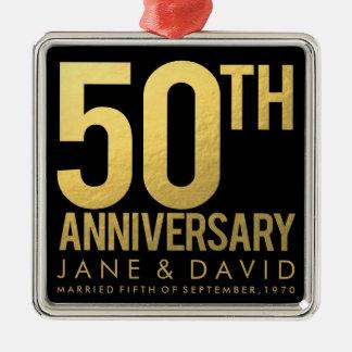 Gold 50th Anniversary Personalized Ornament