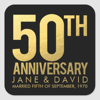 Gold 50th Anniversary Personalized Stickers