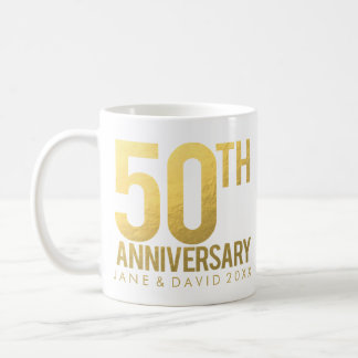 Gold 50th Anniversary Personalized White Mug