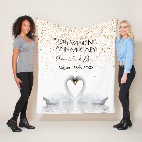 Gold 50th anniversary white swans in love fleece blanket