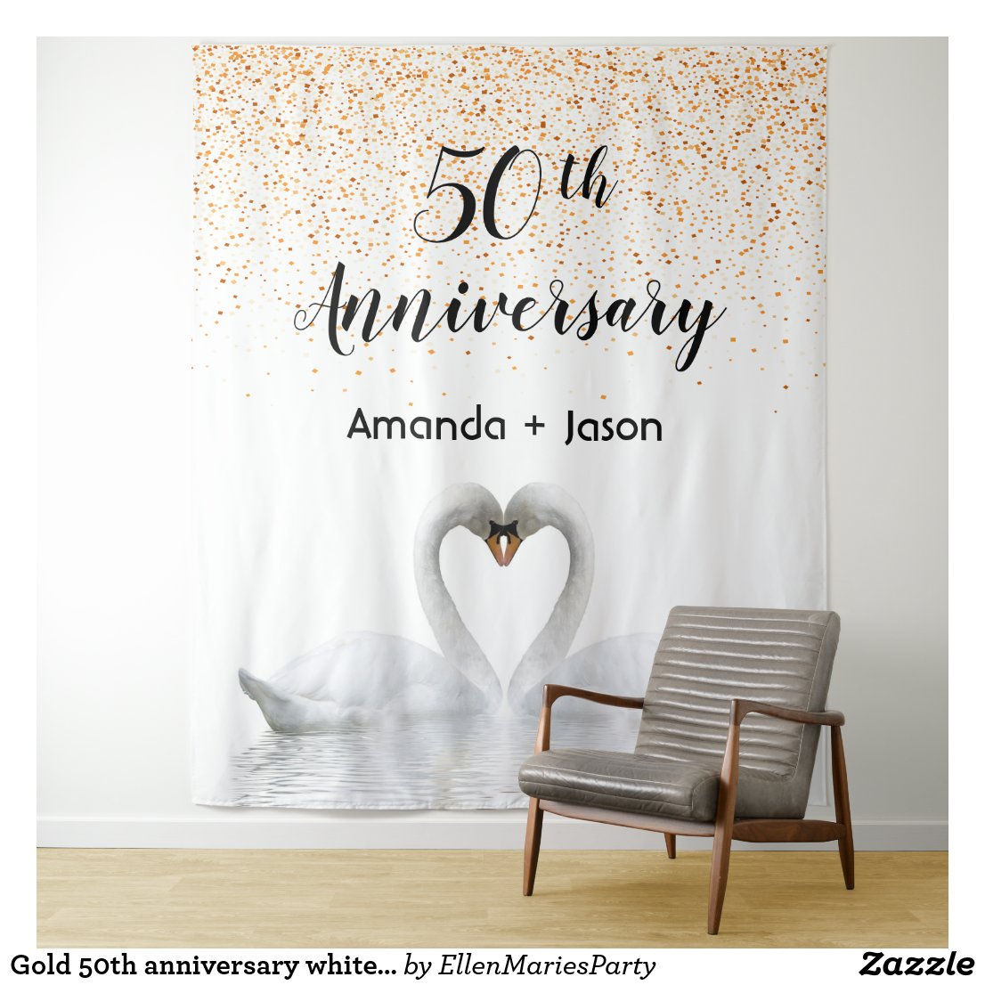 Gold 50th anniversary white swans in love tapestry
