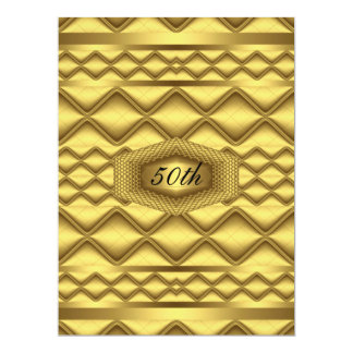 Gold   50th Birthday  Anniversary Party Card