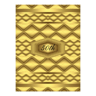 Gold   50th Birthday  Anniversary Party Custom Announcements