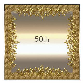 Gold 50th Birthday Anniversary Party Invitation