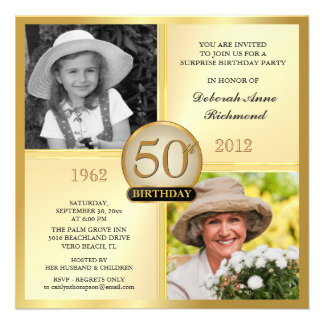 Gold 50th Birthday Invitations Then & Now 2 Photos