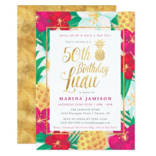 gold 50th birthday luau party invitations zazzle com