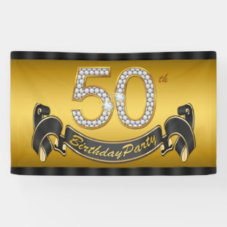 Gold 50th Birthday Party Banner