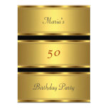 Gold 50th birthday Party Gold Black Announcement