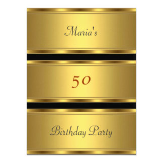 Gold 50th birthday Party Gold Black Card