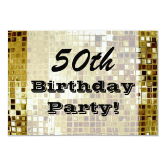 Gold 50th Or Any Age Birthday Party Invitation