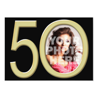 """Gold 50th Photo Birthday or Other Party Invitation 5"""" X 7"""" Invitation Card"""