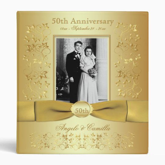 Gold 50th Wedding Anniversary Binder With Photo Zazzle Com