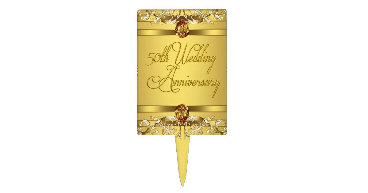 Gold 50th Wedding Anniversary Cake Topper | Zazzle.com