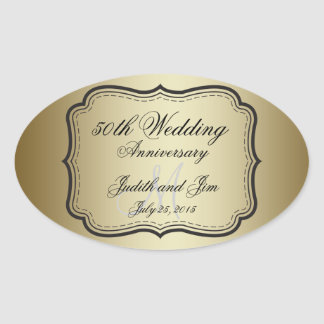 Gold 50th Wedding Anniversary Oval Sticker
